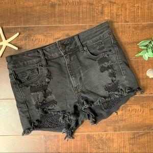 AEO High Rise Shortie Black Denim Jean Shorts 4